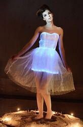 LED Fiber Optic Light up Elegant Strapless Evening Prom Party Lace Ball Dresses