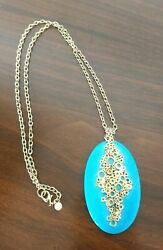 Stunning Large Statement Alexis Bittar Turquoise & Gold Tone Chain Necklace