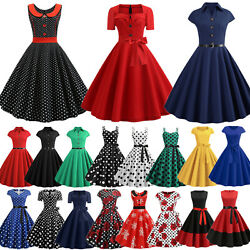 Women Vintage Retro Hepburn Rockabilly Swing Dress Ladies Evening Party Cocktail