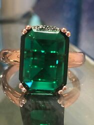8ct Flawless Large Stone Emerald Ring in Rose Gold Ep - Stamped 18k ep Solitaire