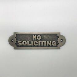 Signature Hardware Solid Brass NO SOLICITING Sign Antique Brass