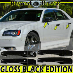 For 2011-2019 Chysler 300 GLOSSY BLACK Door Handle COVERS+Mirror Overlays $57.25