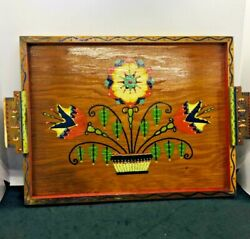 Vintage Wooden Folk Art Tray Hand Painted Front with Handles with Initales ESTAE