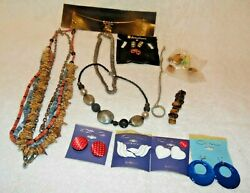 VINTAGE- COSTUME JEWELRY LOT-Necklace Pins Earrings-NICE COND-