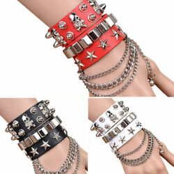 Gothic Skull Punk Bracelet Rivet Leather Cuff Bangle W Adjustable Button Hot $4.51