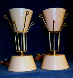 Vintage Mid Century Modern Atomic Pink enameled steel table lamp pair Thurston