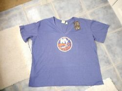 NWT Women's New York Islanders SS V-neck Tshirt 3X NHL Hockey Official