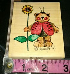 Bugable ladybug bear flower stamp Passions000woodenrubberstamp