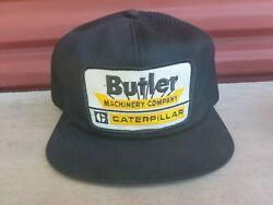 Rare Vintage CATERPILLAR BUTLER MACHINERY Large Patch Mesh K Brand Snapback Hat