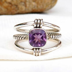 925 Sterling Silver Amethyst Ring Faceted Natural Amethyst Purple Rings-S208