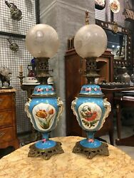 MAGNIFICENT ANTIQUE 19 TH CENTURY FRENCH PORCELAIN PAIR OF GAS LIGHTS