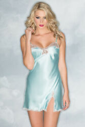 sexy BE WICKED mini SLIT satin LACE chemise BABYDOLL mini DRESS lingerie SILKY