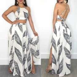 US Sexy Women 2 Piece Bodycon Summer Crop Top and Skirt Set Bandage Dress Party