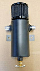 Baffled Aluminum Breather Tank  Oil Catch Can Tube with 12AN Ports Black $60.00
