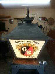 Griesedieck Beer Sign Large Outdoor 4 Sided Lighted Hanging Glass Panel 1940's