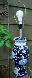 Vintage Table Lamp CHINESE Hand Painted BLUE amp; WHITE Porcelain GINGER JAR 3 Way $87.99