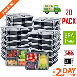 20 Pack Meal Prep Containers Food Storage 3 Compartment Reusable Microwave Safe