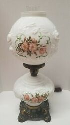 Phoenix Lamp Gone With The Wind Hurricane 3 Way Lamp Raised Roses Vintage