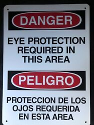 """Bilingual Eye Protection Safety Sign. 10"""" X 14"""". Vinyl"""