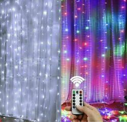 300LED 10ft Curtain Fairy Hanging String Lights Wedding Party Wall Decor Lamp US $11.99