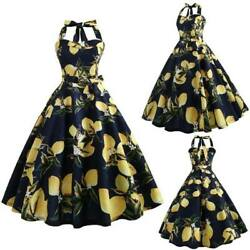 Floral Party Dresses vintage Swing Party Retro Evening Sleeveless halter Dress $17.59