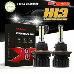 Pair 4-Sides H13 9008 LED Headlight Kit 300W 6000K 30000LM Hilow Beam Bulbs NEW