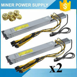 2Pcs 2450W Server Power Supply Mining For Antminer S9 T9 S7 L3 & PCI-E Cable MY