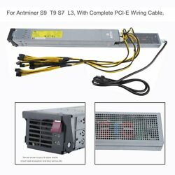 2450W Server Power Supply For Antminer S9 T9 S7 L3 With PCI-E Wiring Cable WW