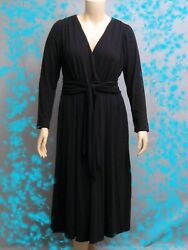 Women#x27;s Office Work Wrap Dress Knit Career Long Sleeves Black Plus Size 16W