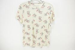 NEW Lucky Brand Womens Size M Short Sleeve Floral Top Shirt Cotton Ivory $40