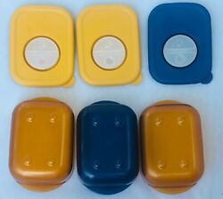 3 Tupperware Rock N Serve Containers 1 Cup Blue Yellow Steam Vent 3387A 3388A