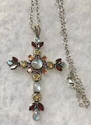"Nicky Butler Spectacular 3 12"" X 2 14"" Multi Color Stone Cross Necklace Raj"