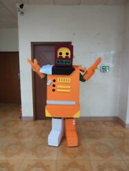 Orange Robot Mascot Costume Suits Party Game Dress Outfits Advertising Halloween $310.00