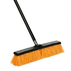 Alpine Industries 18 in. Yellow Rough Surface Foam Grip Commercial Push Broom