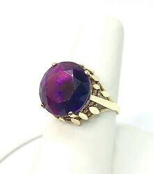 1940's Round Amethyst weight:10.00ct.Yellow Gold 18k.UK Ring Size P 12 -EU 57