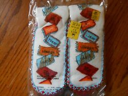 Vintage CITIES OF THE WORLD Boys Slipper Socks Size MEDIUM 8 8.5 NIP $3.95
