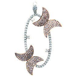 Real 2.11ct Natural Fancy Pink Diamonds Pendant Necklace 18K Rose Gold Butterfly