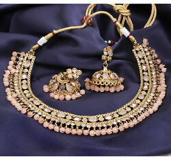 Indian Bollywood Gold Plated Peach Kundan Choker Necklace Earrings Jewelry Set