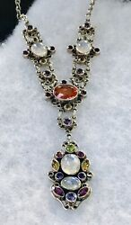 Nicky Butler Sterling Spectacular Multi Color Stone Necklace 18-20""