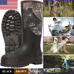 HISEA Men's Muck Work Boots Rubber Neoprene Insulated Breathable Hunting Boots