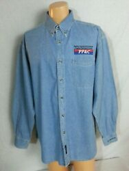 Official Boeing Commercial Airplanes Denim Shirt Light Wash Long Sleeve PPamp;C XL
