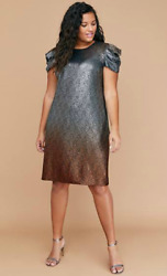 LANE BRYANT $100 OMBRE METALLIC PUFF SLEEVE SHEATH DRESS HOLIDAY PARTY PLUS 18W $75.59