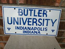 Vintage Butler University License Plate Metal Indianapolis Indiana Nice!