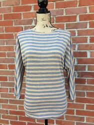 CAbi Brown & Gray Striped 34 Dolman Sleeve Shirt Size Small
