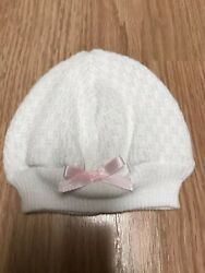 Paty Inc Baby Girls White Knit Beanie Hat Pink Bow