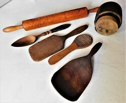 Lot Of 6 Antique Wood Kitchen Tools Butter Mold & Paddle Spoon Rolling Pin etc