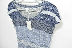 NEW Lucky Brand Womens Size S Short Sleeve Floral Top Shirt Blue $40