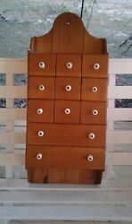 ANTIQUE VINTAGE PRIMITIVE 11 DRAWER WOODEN SPICE WALL HANGING CABINET-CUPBOARD