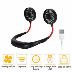 Portable USB Rechargeable Neckband Dual Cooling Mini Fan Lazy Neck Hanging Style $10.99