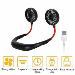 FAN USB Rechargeable Neckband Dual Cooling Mini Fan Lazy Neck Hanging Style $8.99